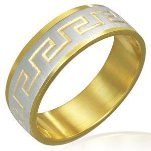 Stainless Steel 2-Tone Greek Key Satin Finished Beveled Edge Ring