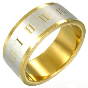 316 Gold Plated Stainless Steel Roman Numeral Flat Band Ring