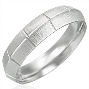 316 Stainless Steel Diamond-Cut Satin Finished Knife Edge Ring