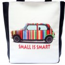 "Mini Cooper Retro Car Rainbow Cool Logo ""Small Is Smart"" Large Shoulder Tote Bag Purse"