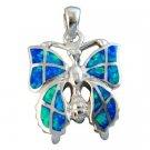 925 Sterling Silver Hawaiian Blue Opal Butterfly Charm Pendant