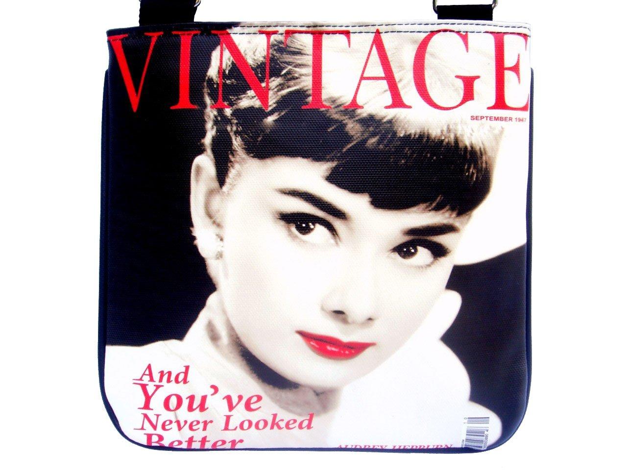 Audrey Hepburn Vintage Retro Red Lip Messenger Sling Bag Purse