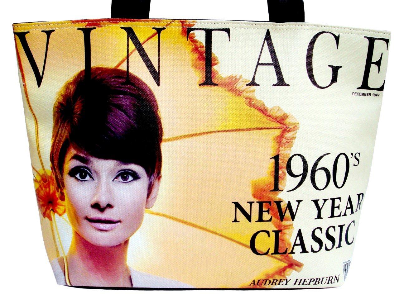 Audrey Hepburn Vintage 1960's Wide Tote Shoulder Bag Purse