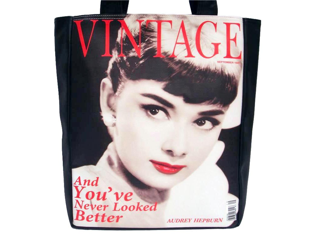 Audrey Hepburn Vintage Classic Large Tote Shoulder Bag Purse