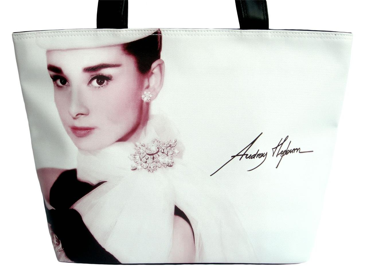 Audrey Hepburn Signature Fashion Wide Tote Shoulder Bag Purse