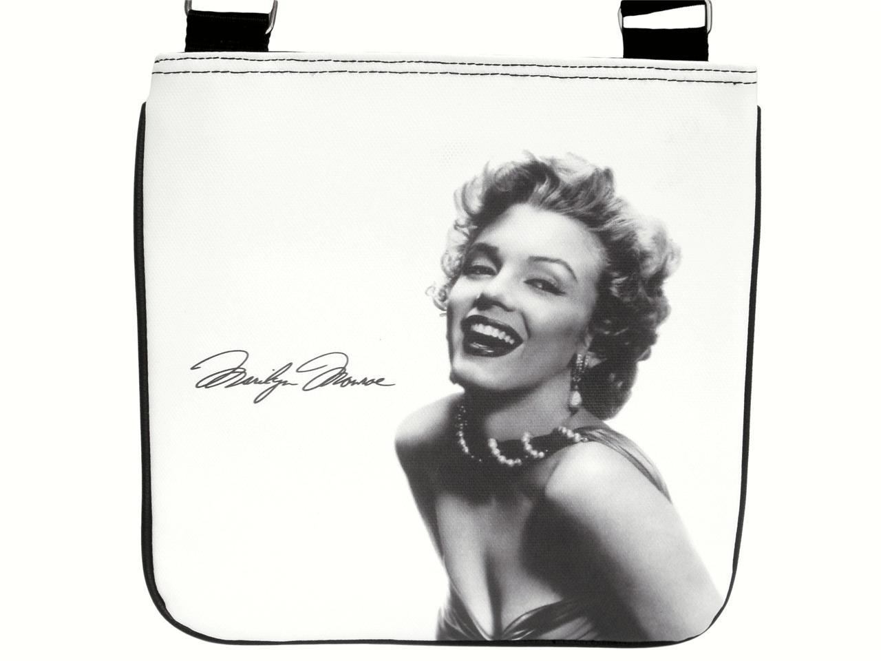 Marilyn Monroe Signature Classic Messenger Cross Body Sling White Bag Purse