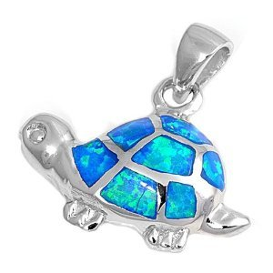 925 Sterling Silver Pendant Hawaiian Blue Opal Turtle