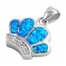 925 Sterling Silver Queen Crown Hawaiian Blue Opal CZ Charm Pendant