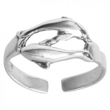 925 Sterling Silver Twin Dolphins Adjustable Pinky Toe Ring