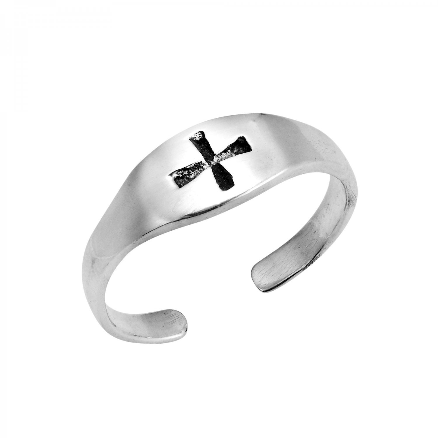 925 Sterling Silver Cross Oxidized Adjustable Pinky Toe Ring