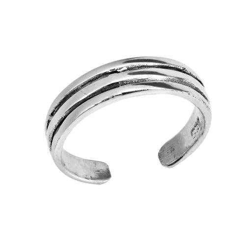 925 Sterling Silver Triple Band Oxidized Adjustable Pinky Toe Ring