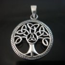 925 Sterling Silver Celtic Knot Tree of Life Round Charm Pendant