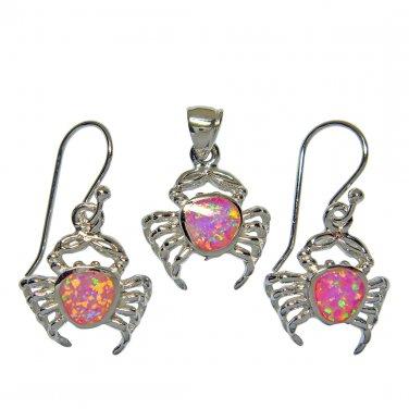 925 Silver Pendant Dangle Earrings Set Pink Opal Crab