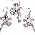 925 Sterling Silver Pendant Dangle Earrings Set White Opal Frog