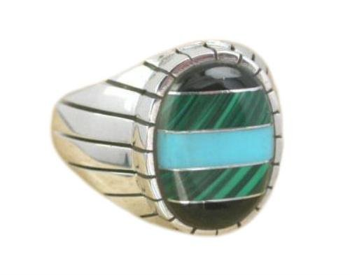 925 Sterling Silver Mens Oval Onyx Malachite Turquoise Ring