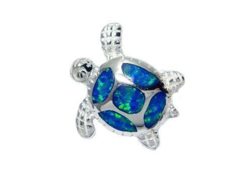 925 Sterling Silver Pendant Hawaiian Blue Opal Sea Turtle