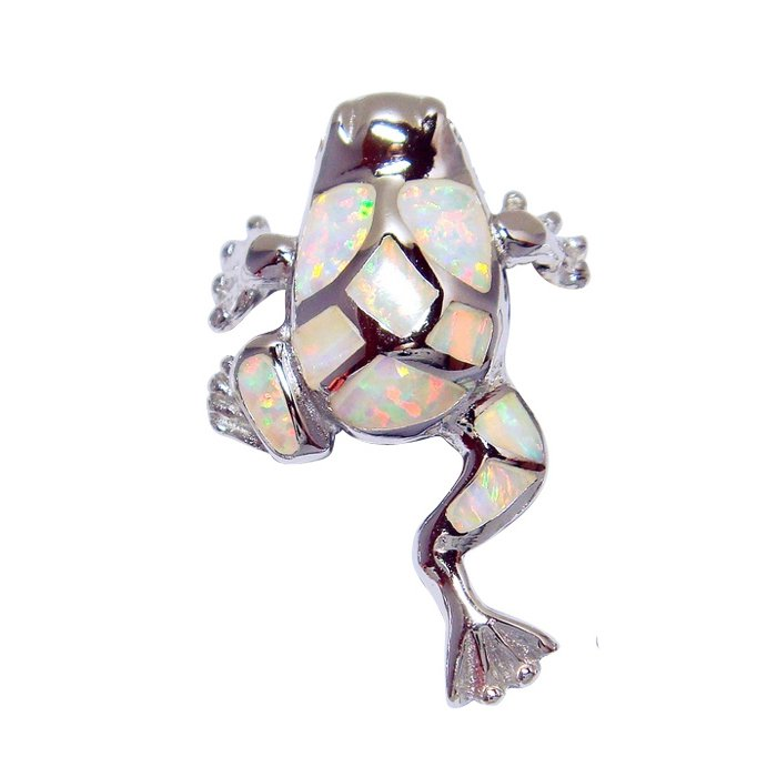 925 Sterling Silver White Mosaic Opal Lucky Frog Charm Pendant