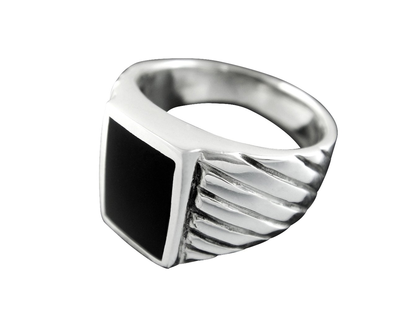 925 Sterling Silver Mens Rectangle Engraved Sides Black Onyx Ring 12gr