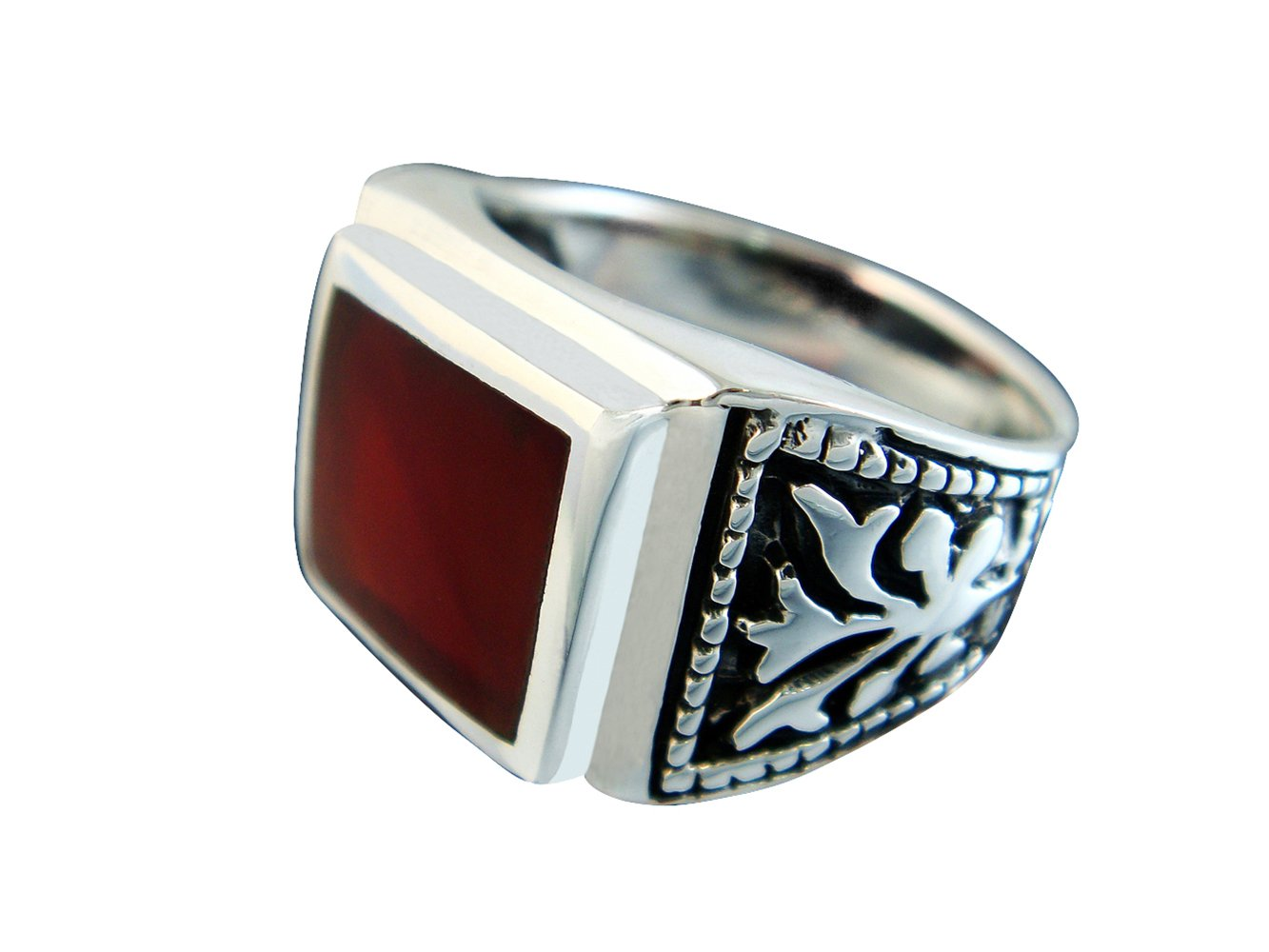 925 Sterling Silver Mens Square Carnelian Celtic Engraved Side Ring