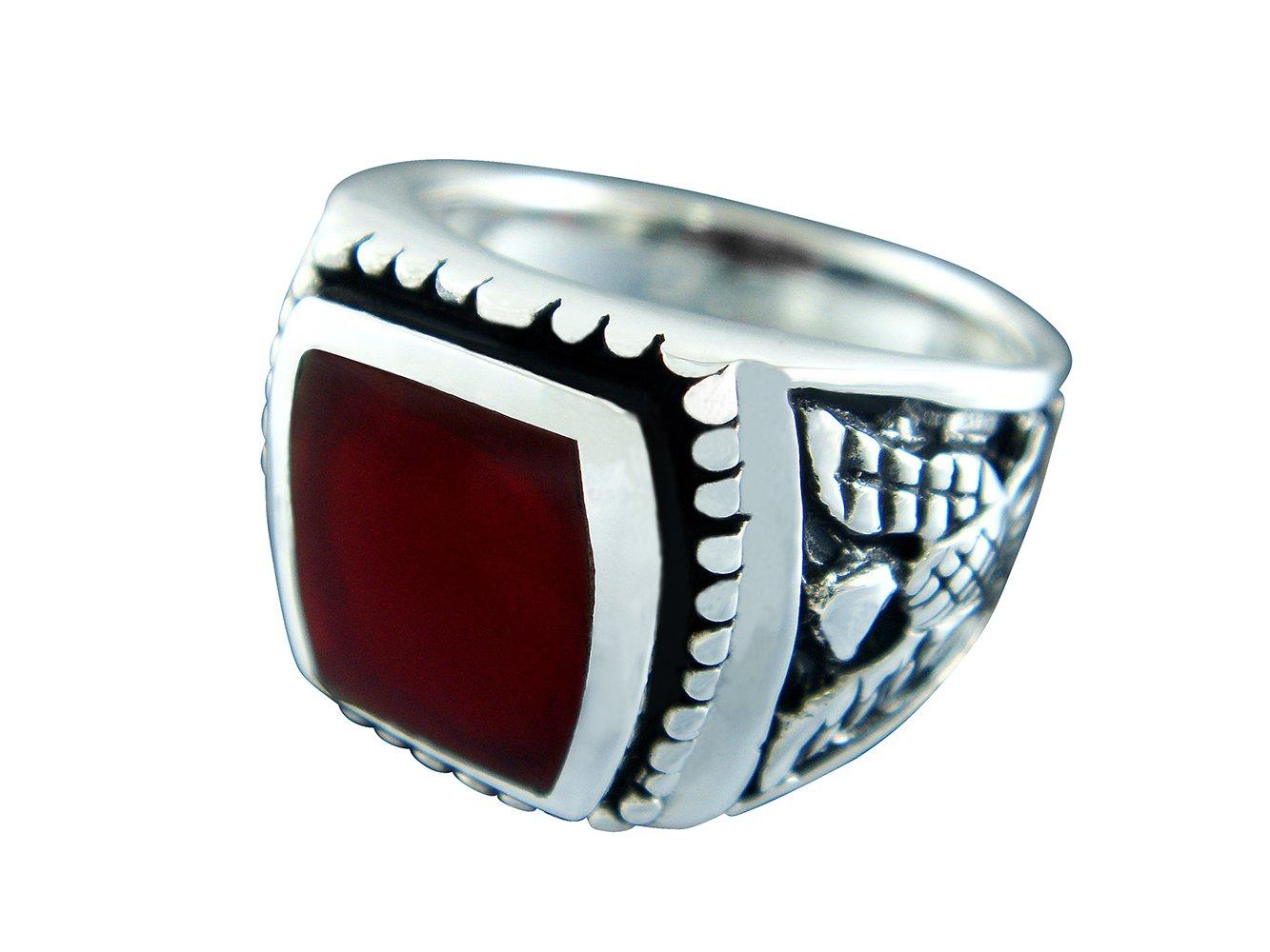 925 Sterling Silver Men's German Eagle Carnelian Ring