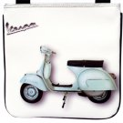 White Retro Vespa Motorcycle Scooter Messenger Sling Cross Body Purse Bag