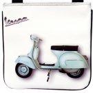 White Retro Vespa Motorcycle Scooter Messenger Sling Cross Body Purse Bag