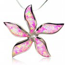 925 Sterling Silver Pink Fire Opal Starfish Flower Pendant
