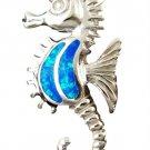 925 Sterling Silver Pendant Hawaiian Blue Opal Seahorse Sea