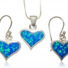 925 Sterling Silver Hawaiian Blue Opal Heart Love Pendant Earrings Set