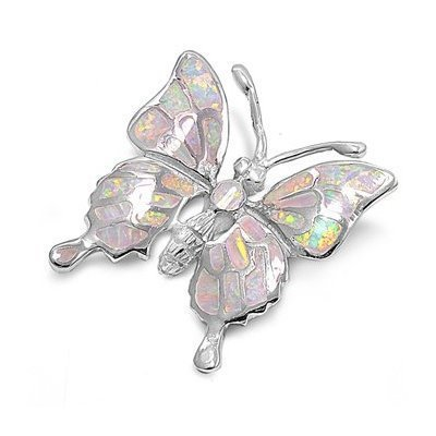 925 Sterling Silver White Mosaic Inlay Fire Opal Butterfly Monark Pendant