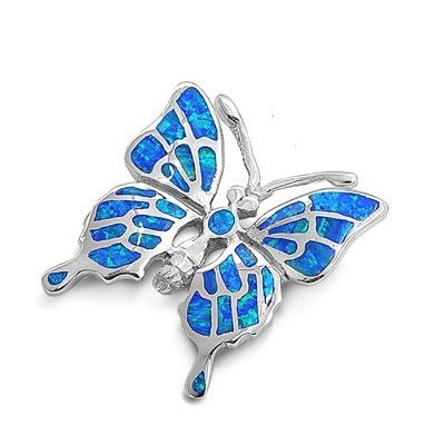 925 Sterling Silver Pendant Hawaiian Blue Opal Big Butterfly Monark