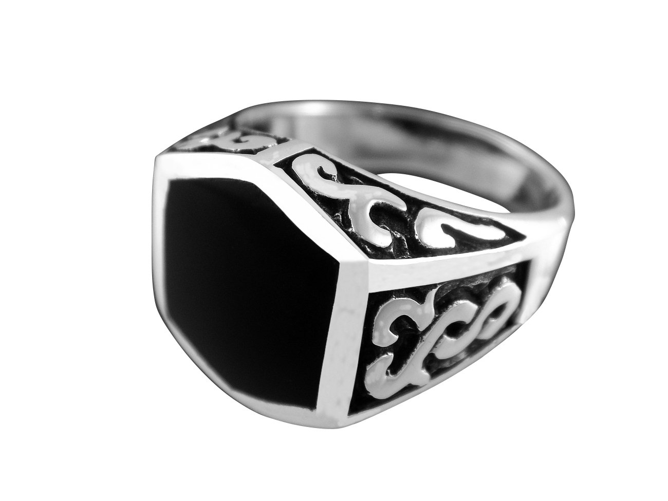 925 Sterling Silver Men's Black Onyx Celtic Irish Oxidized Sides Ring 12g