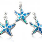 925 Sterling Silver Hawaiian Blue Opal Starfish Pendant Earrings Set