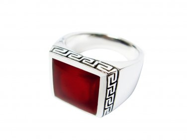 925 Sterling Silver Mens Square Inlay Carnelian Greek Key Meander Ring