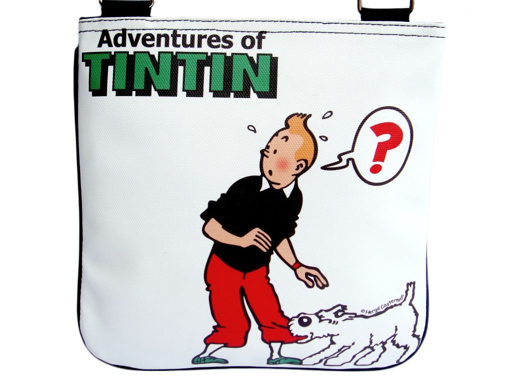 TINTIN Snowy White Cartoon Vintage Retro Messenger Bag Purse