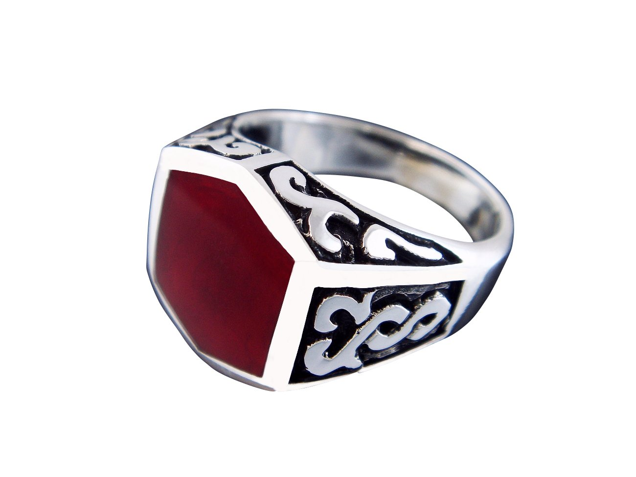 925 Sterling Silver Men's Carnelian Celtic Irish Oxidized Sides Ring
