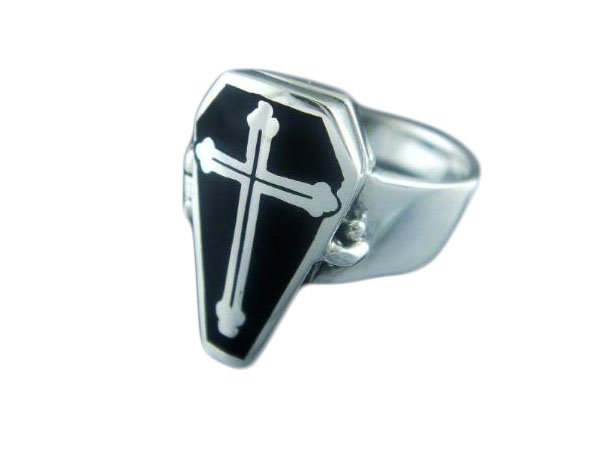 925 Sterling Silver Poison Can Open Coffin Gothic Cross Black Enamel Ring