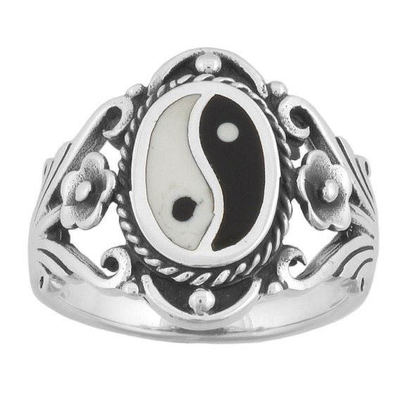 925 Sterling Silver Men's Chinese Ying Yin Yang Ring