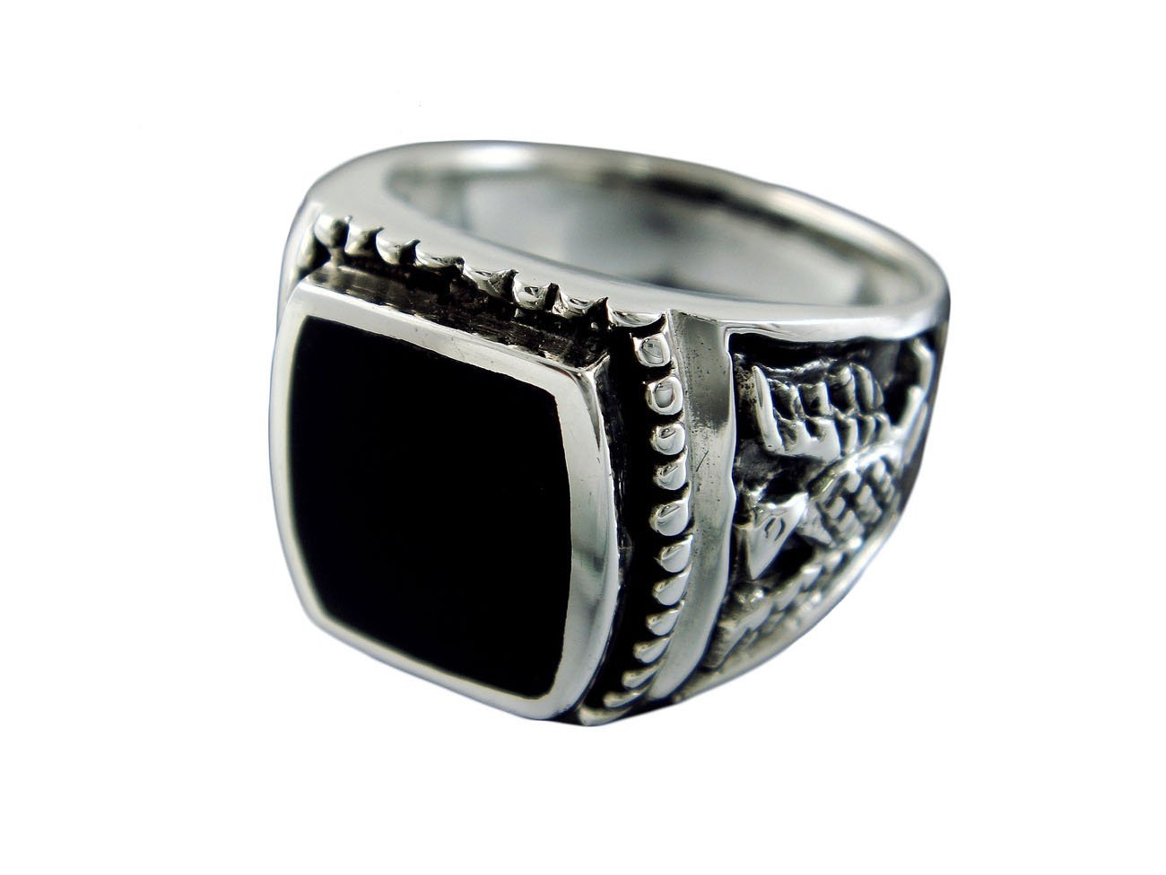 925 Sterling Silver Mens German Iron Eagle Black Inlay Onyx Thick Ring 13gr