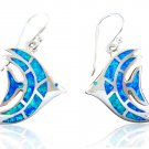 925 Sterling Silver Hawaiian Blue Fire Opal Fish Dangle Earrings Set