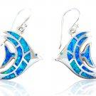 925 Sterling Silver Hawaiian Blue Fire Opal Fish Dangle Earrings Set