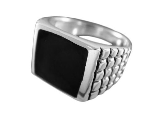 925 Sterling Silver Mens Square Black Inlay Onyx Engraved Checkered Ring