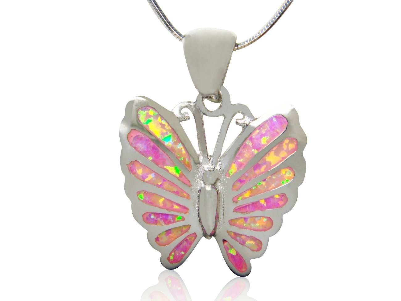 925 Sterling Silver Pink Mosaic Fire Inlay Opal Butterfly Charm Pendant