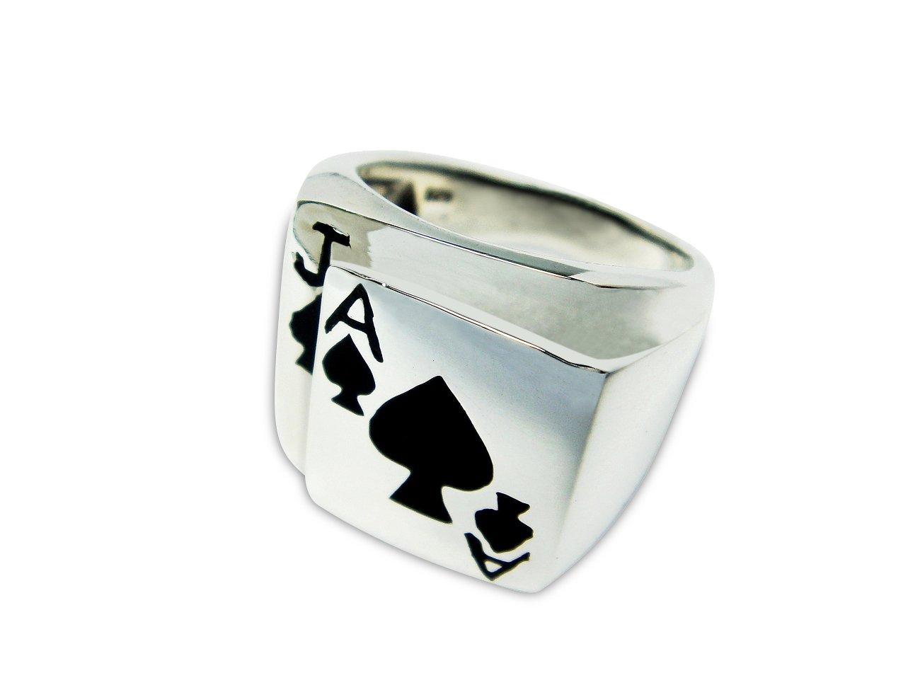925 Sterling Silver Mens Poker Black Jack Card Game Ring