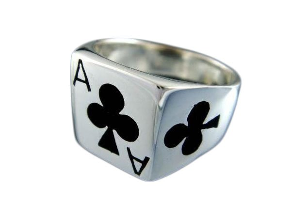 925 Sterling Silver Men's Ace of Clubs Casino Poker Card Game Ring