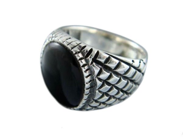 925 Sterling Silver Mens Black Onyx Checkered Sides Ring 12gr