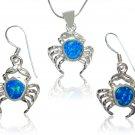 925 Sterling Silver Hawaiian Blue Fire Opal Crab Pendant Dangle Earrings Set