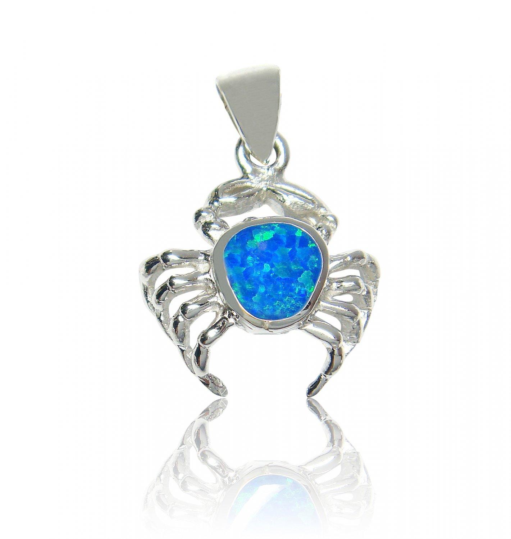 925 Sterling Silver Hawaiian Blue Fire Opal Crab Charm Pendant