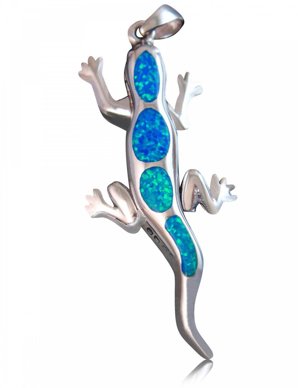 925 Sterling Silver Hawaiian Blue Fire Inlay Opal Lizard Gecko Pendant