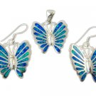 925 Sterling Silver Earrings Pendant Set Hawaiian Opal Butterfly